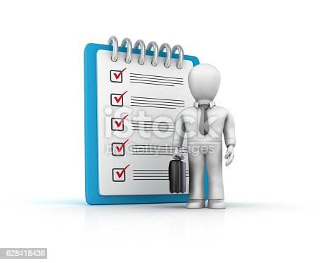 537516368 istock photo Businessman with Check List Clipboard - 3D Rendering 628418436