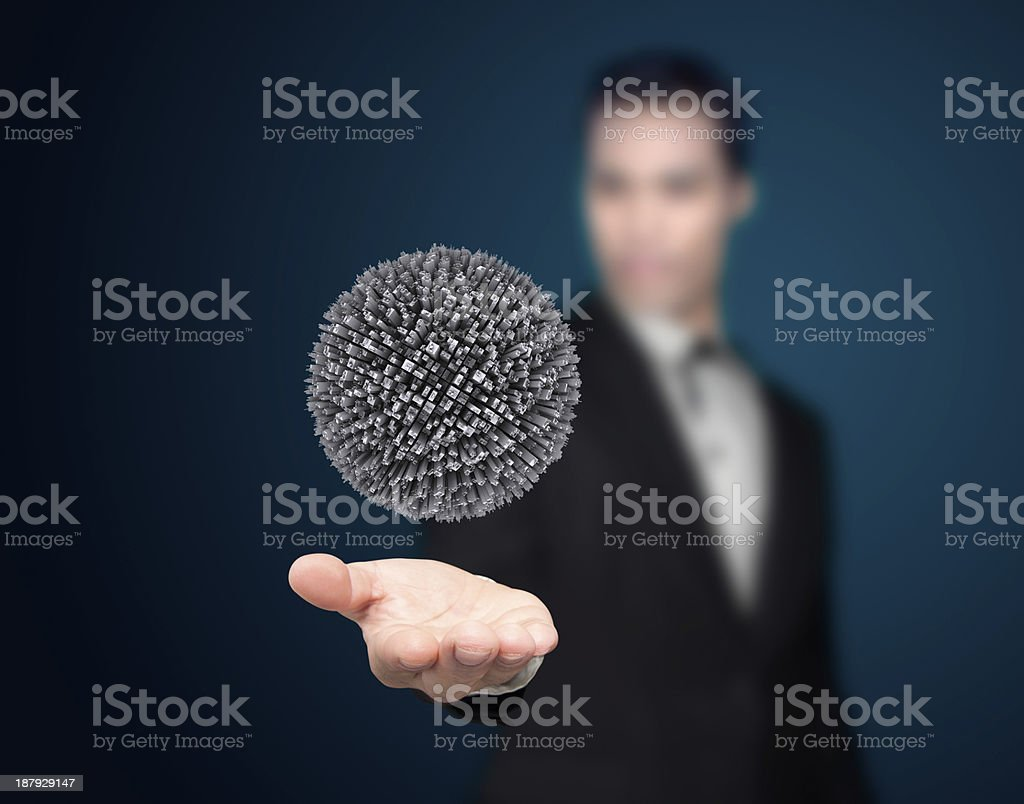 Businessman with city. royalty-free stock photo