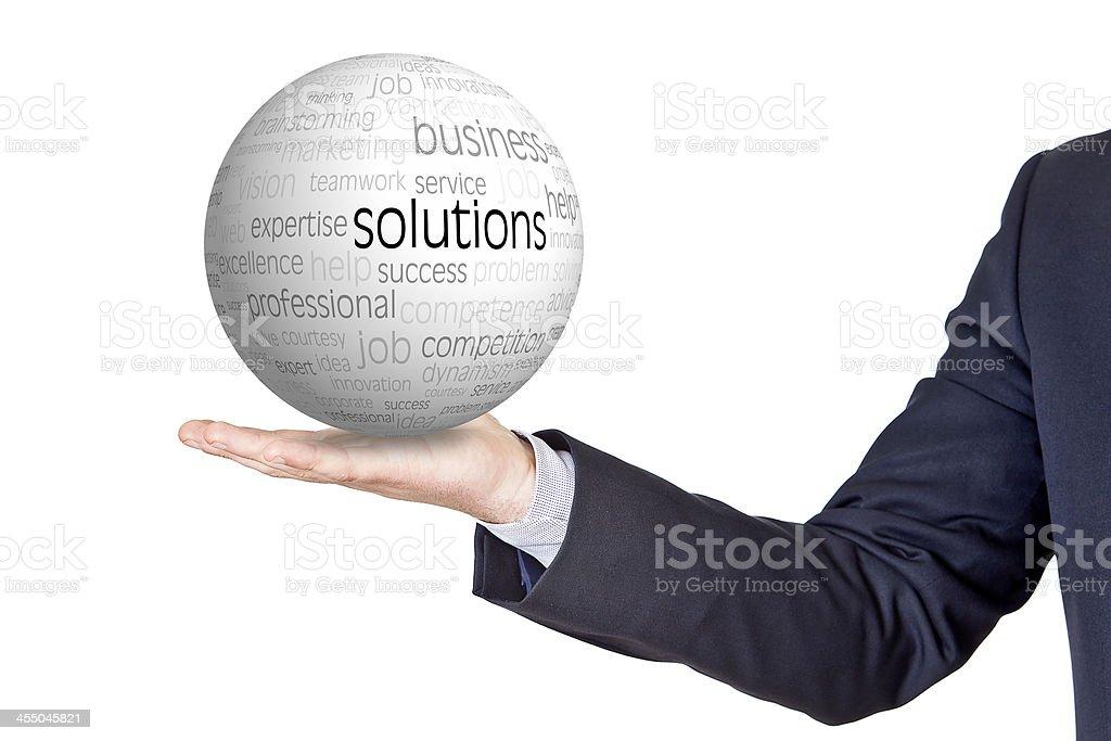 Geschäftsmann mit Konzepten Kugel – Foto
