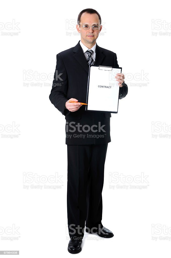 Businessman with contract. Full body royalty free stockfoto