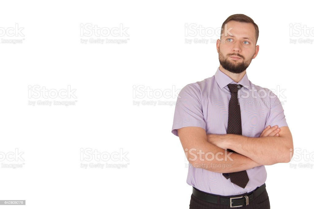 Businessman with crossed arms stock photo
