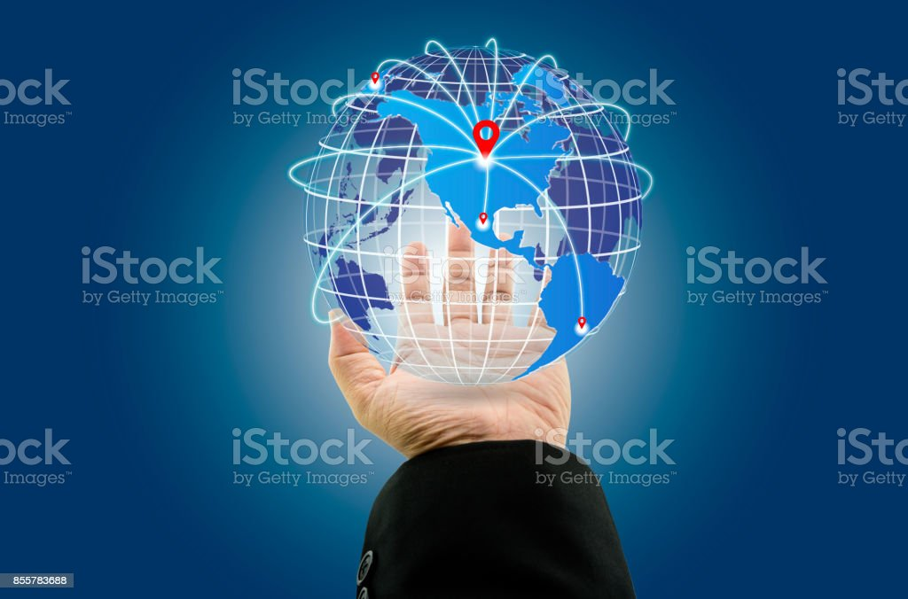 Businessman with digital world map and map pointer at global businessman with digital world map and map pointer at global connections with location pin network royalty publicscrutiny Images