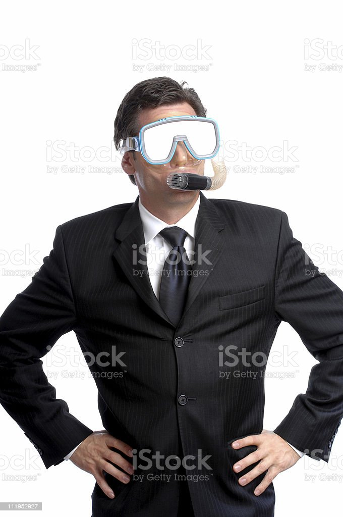 Businessman with Diving Mask and Snorkel Isolated on White Background royalty-free stock photo