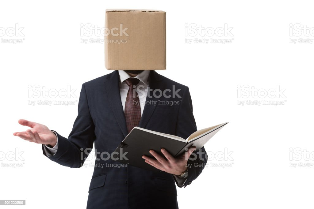businessman with documents in folder stock photo