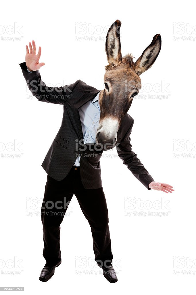 Businessman with donkey head stock photo