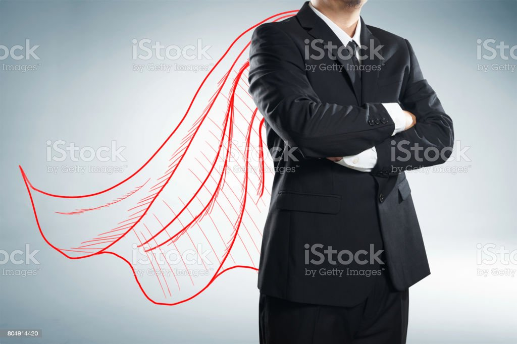 Businessman with drawn red color cape. the concept of success, leadership and victory in business. - foto stock