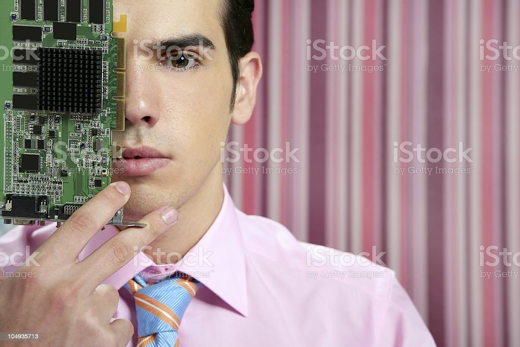 Businessman with electronic circuit in face royalty-free stock photo