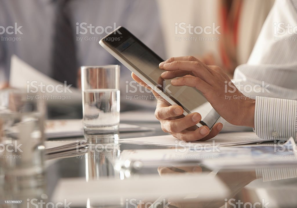 Businessman with electronic tablet royalty-free stock photo