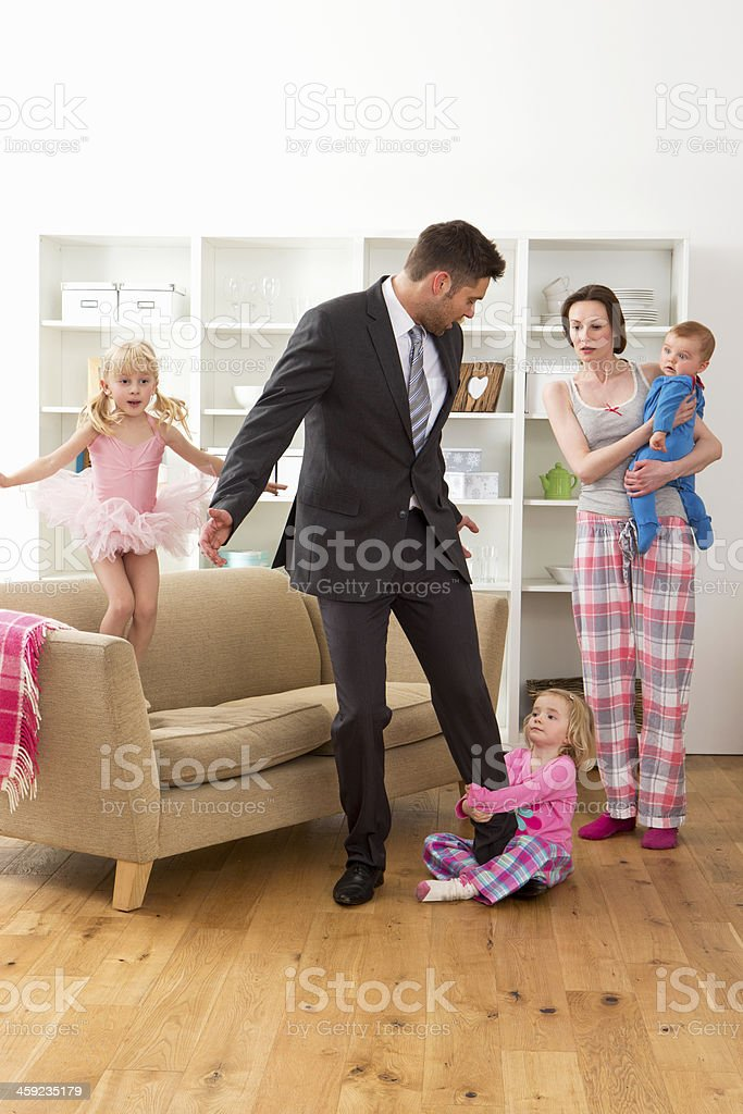 Businessman With Family stock photo