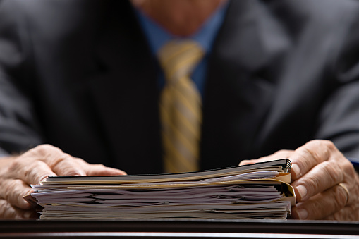 Businessman with files