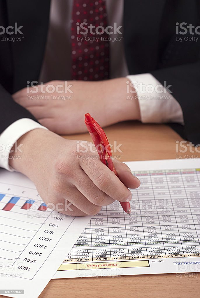 Businessman with financial documents royalty-free stock photo