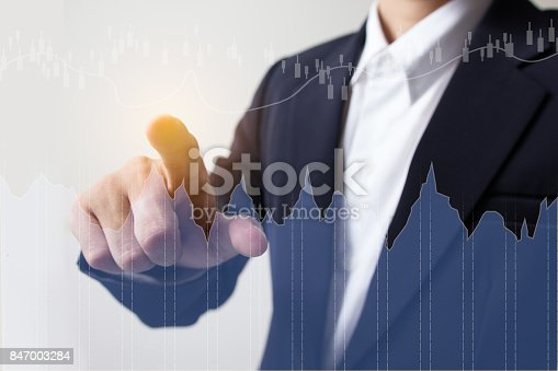 istock Businessman with financial symbols coming, Investment concept 847003284