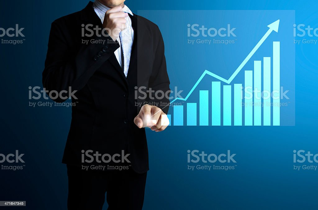 businessman with financial symbols coming royalty-free stock photo