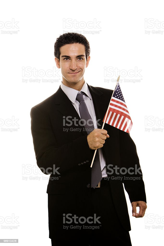 Businessman with flag royalty-free stock photo