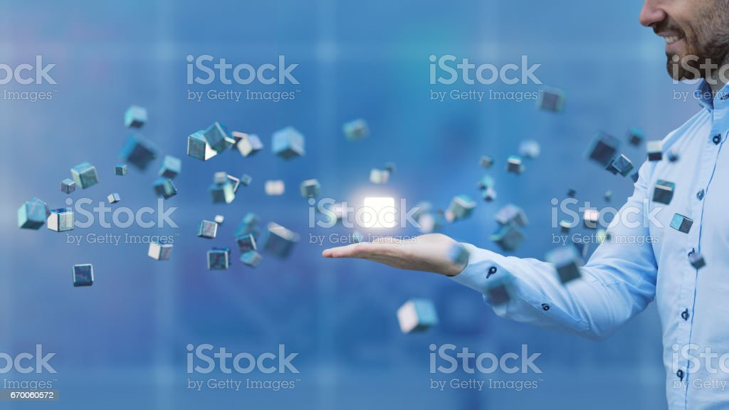 商人與飛行的多維資料集 - 免版稅互聯網圖庫照片