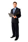 Businessman with Folio Folder Isolated on White Background