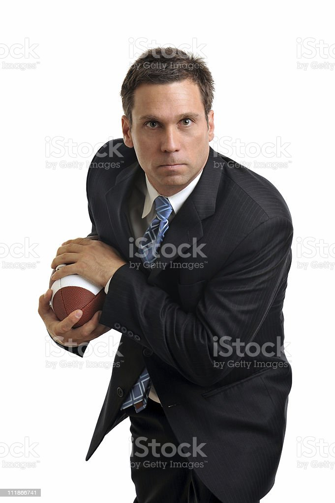 Businessman with Football Isolated on White Background royalty-free stock photo