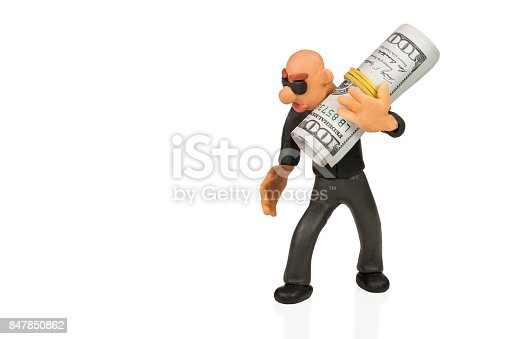 istock Businessman with glasses with money 847850862