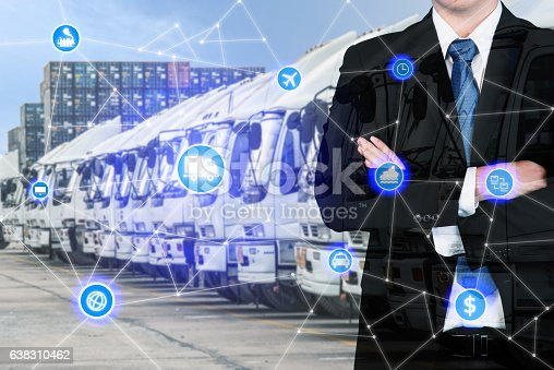 638310484 istock photo Businessman with global business logistics system connection 638310462