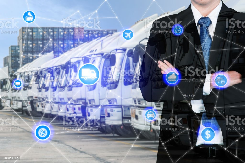 Businessman with global business logistics system connection stock photo