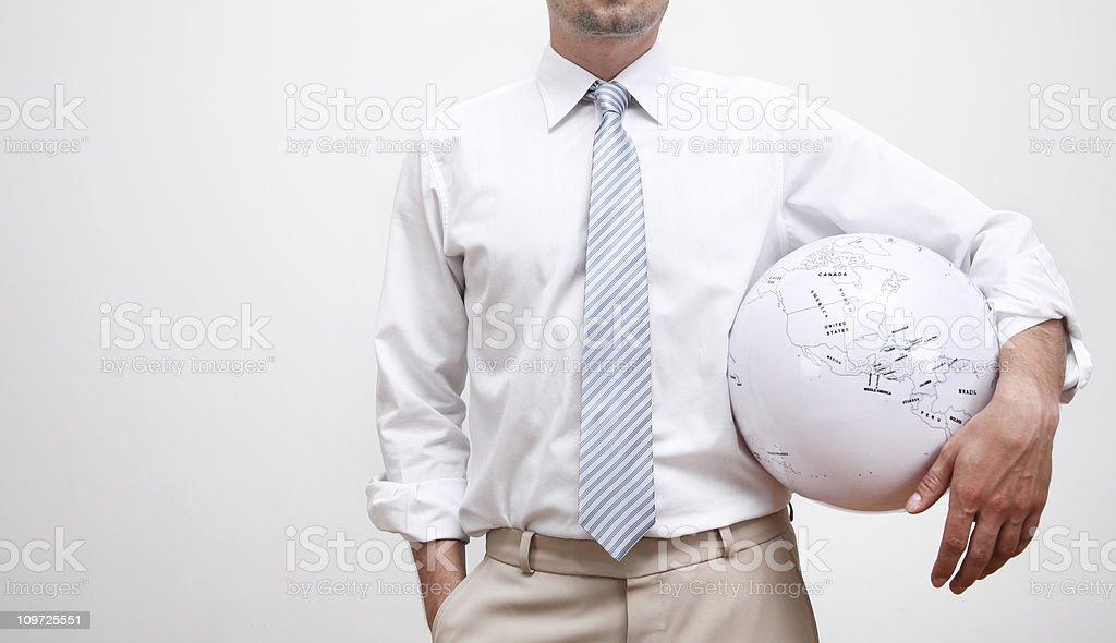 businessman with globe royalty-free stock photo