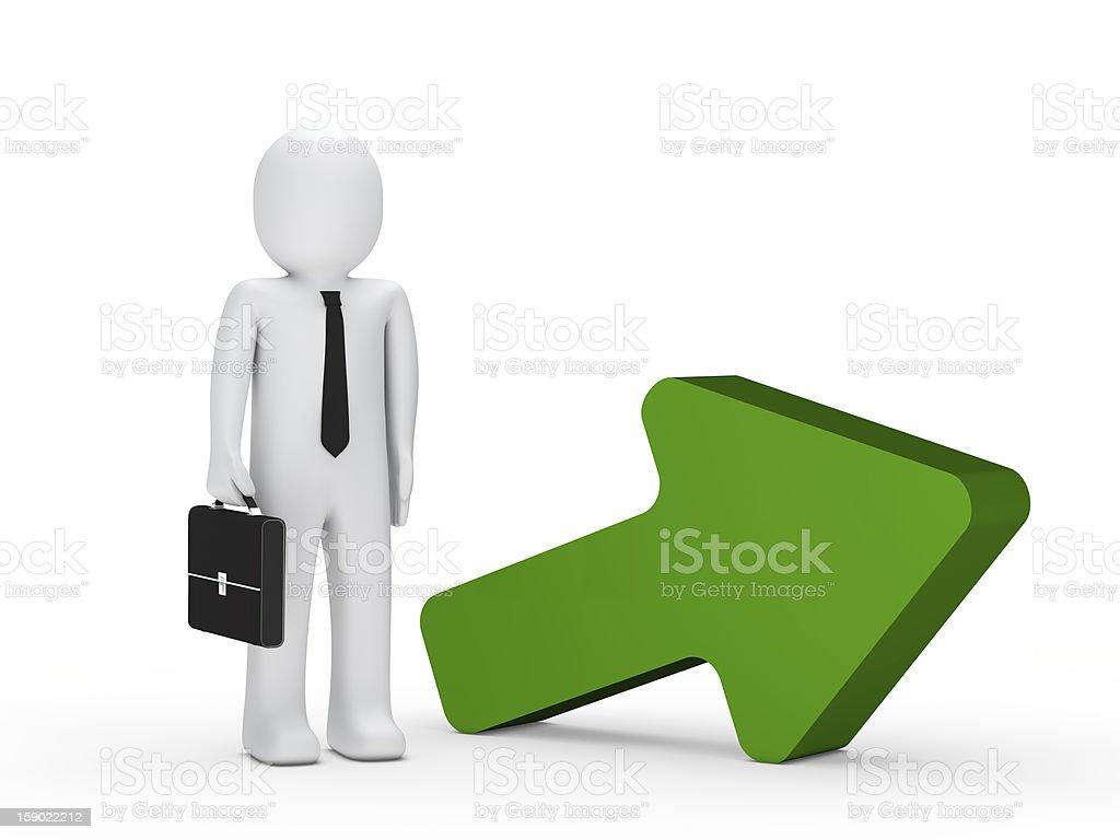 businessman with green arrow stock photo