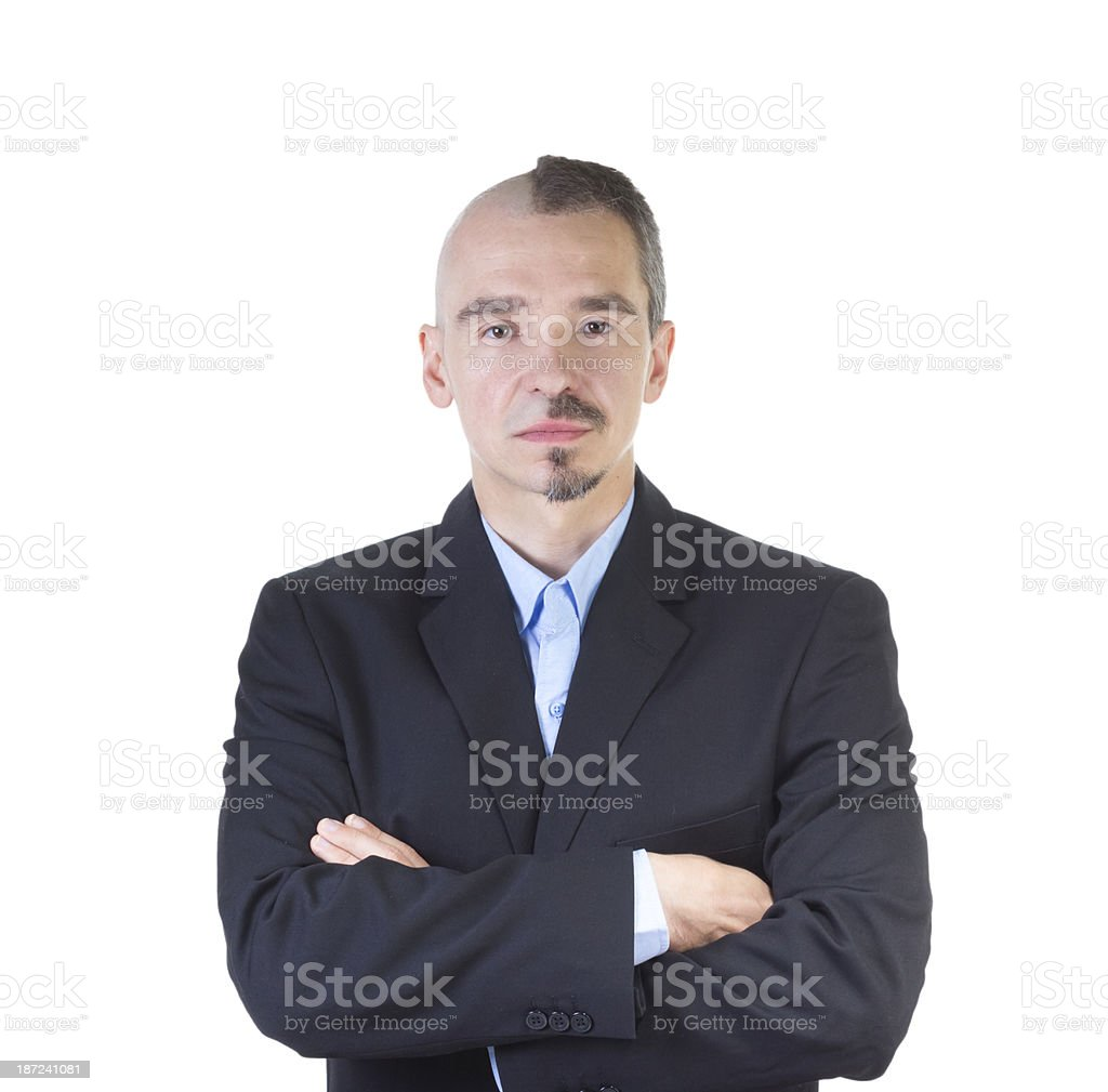 Businessman with half a head of hair and beard stock photo