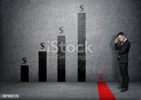 istock Businessman with hand on his forehead looking at fallen bar 597935170
