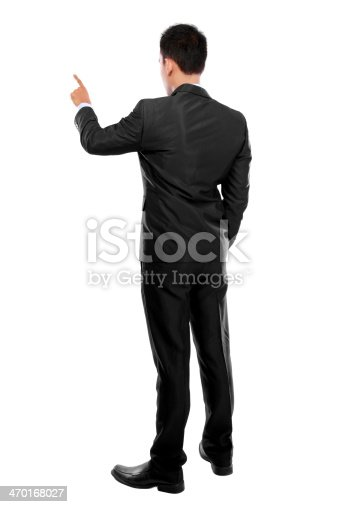 istock Businessman with hand pointing at a virtual screen 470168027