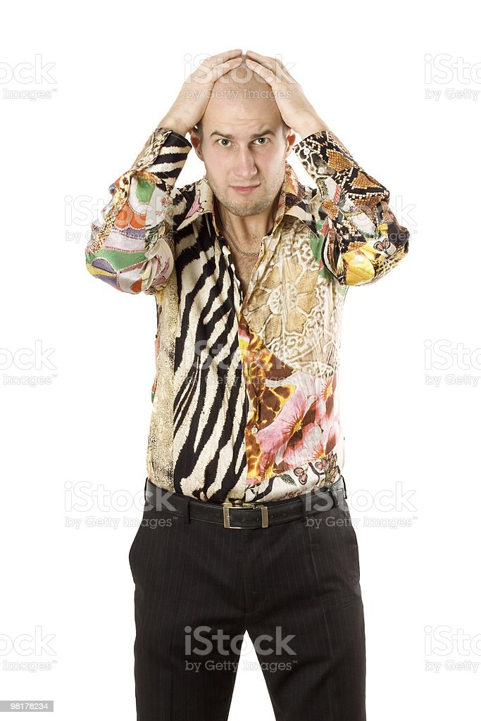 Businessman with hands on head royalty-free stock photo