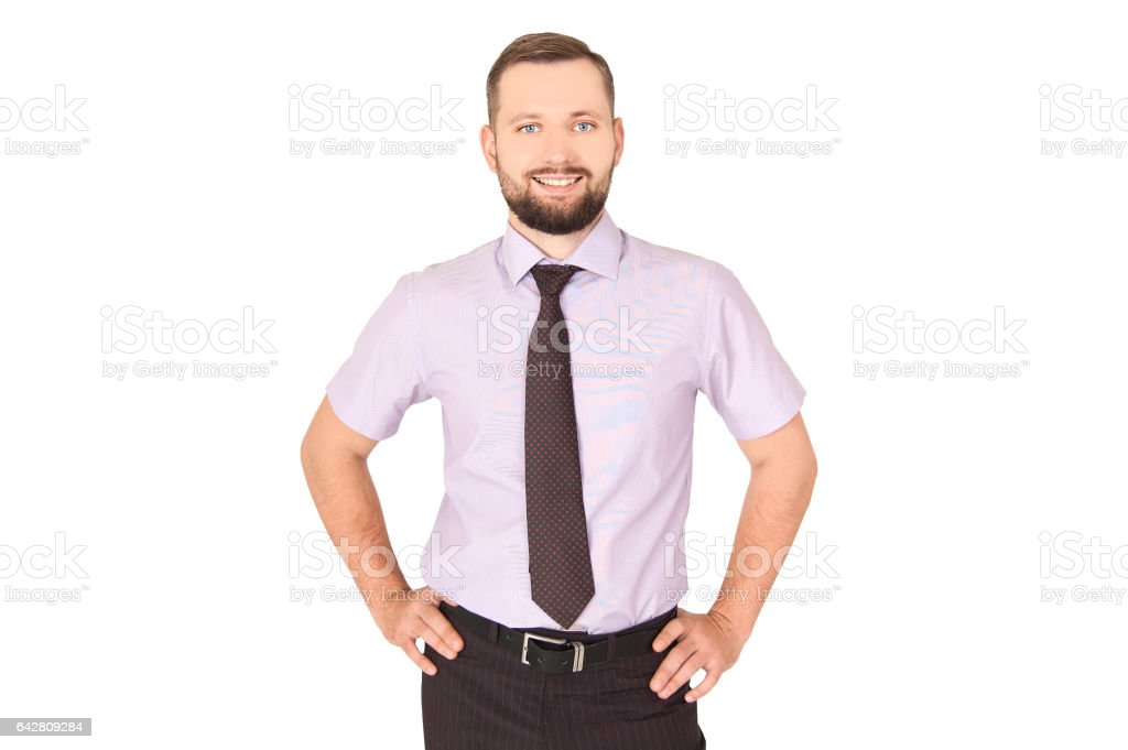 Businessman with hands on weist. Succes concept royalty-free stock photo