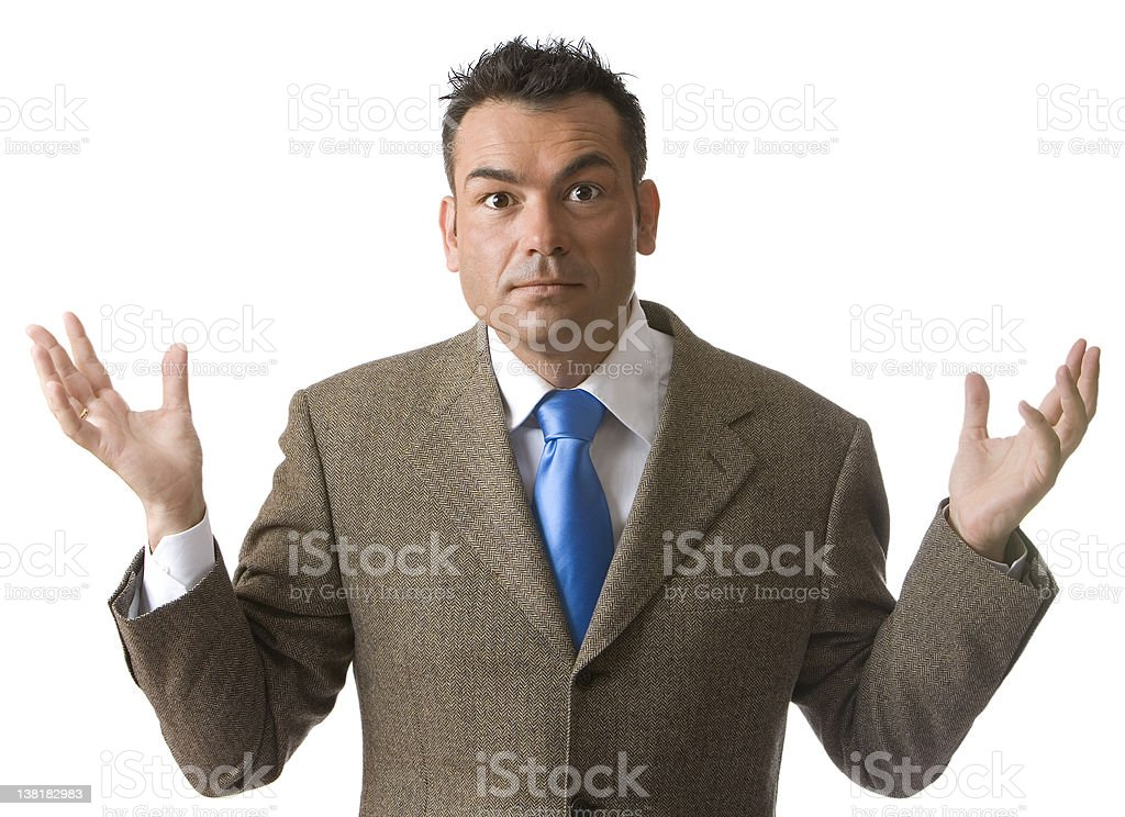 Businessman with hands up isolated royalty-free stock photo
