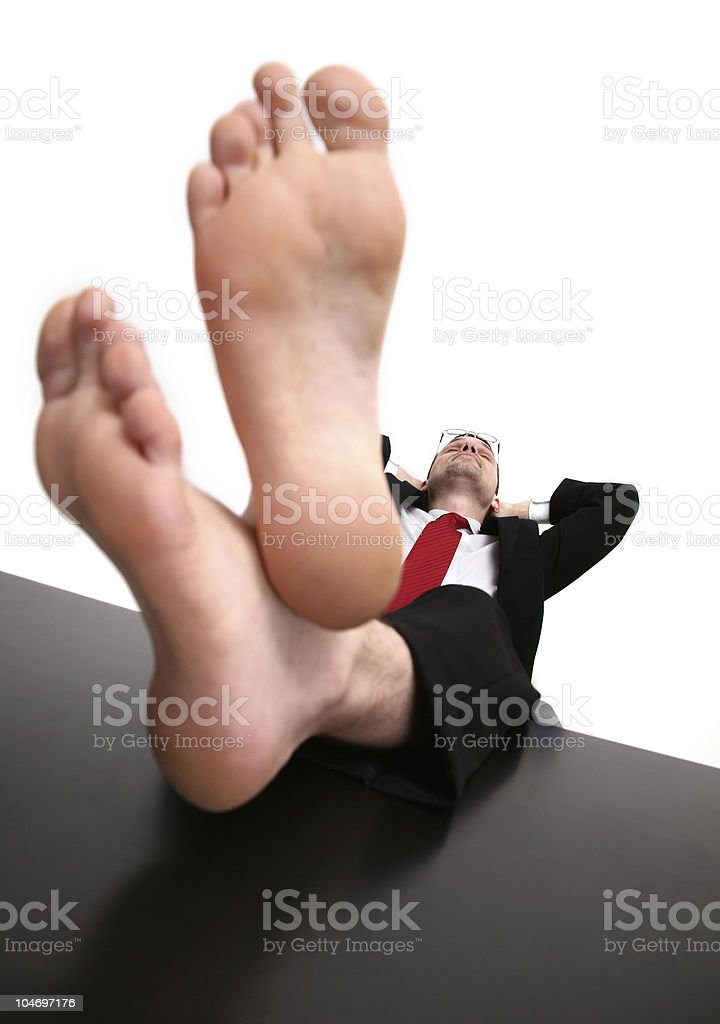 Businessman With His Bare Feet On Top Of A Desk Stock Photo - Download  Image Now - iStock