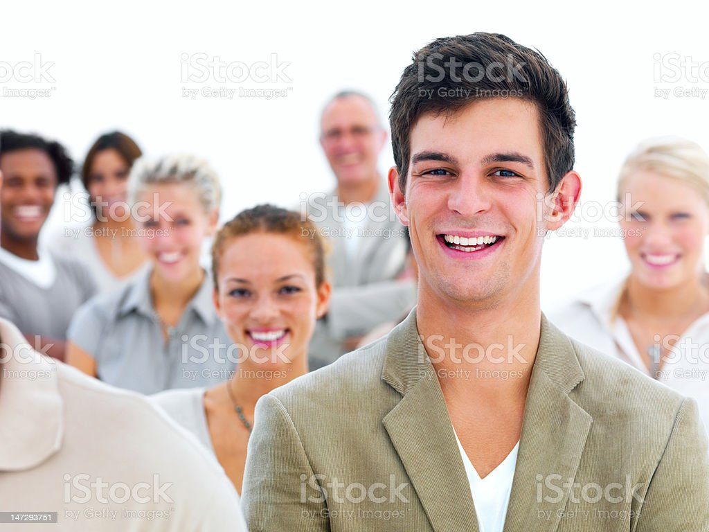 Businessman with his colleagues royalty-free stock photo