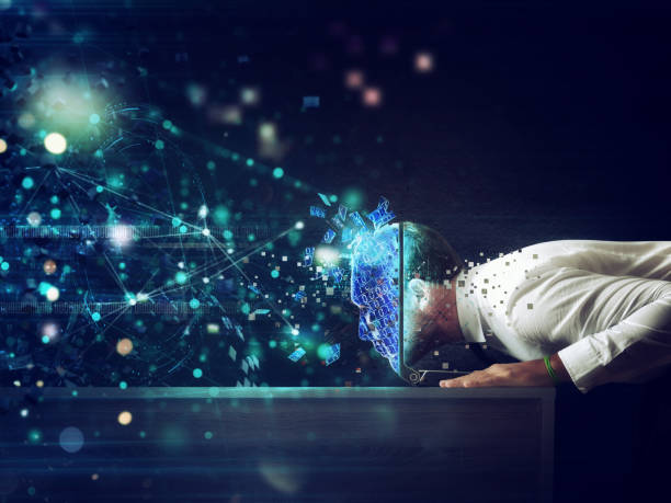Businessman with his head inside a cyberspace through the laptop. Internet connection and addiction concept - foto stock