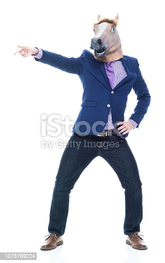 Handsome businessman in blue jacket and wearing jeans