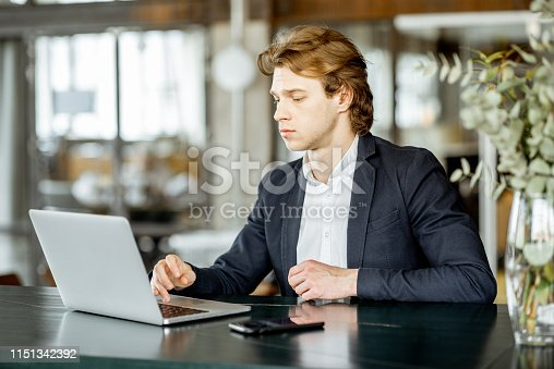 1128886313 istock photo Businessman with lapptop indoors 1151342392