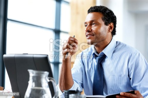 1053499704 istock photo Businessman with laptop working at modern office 175210910