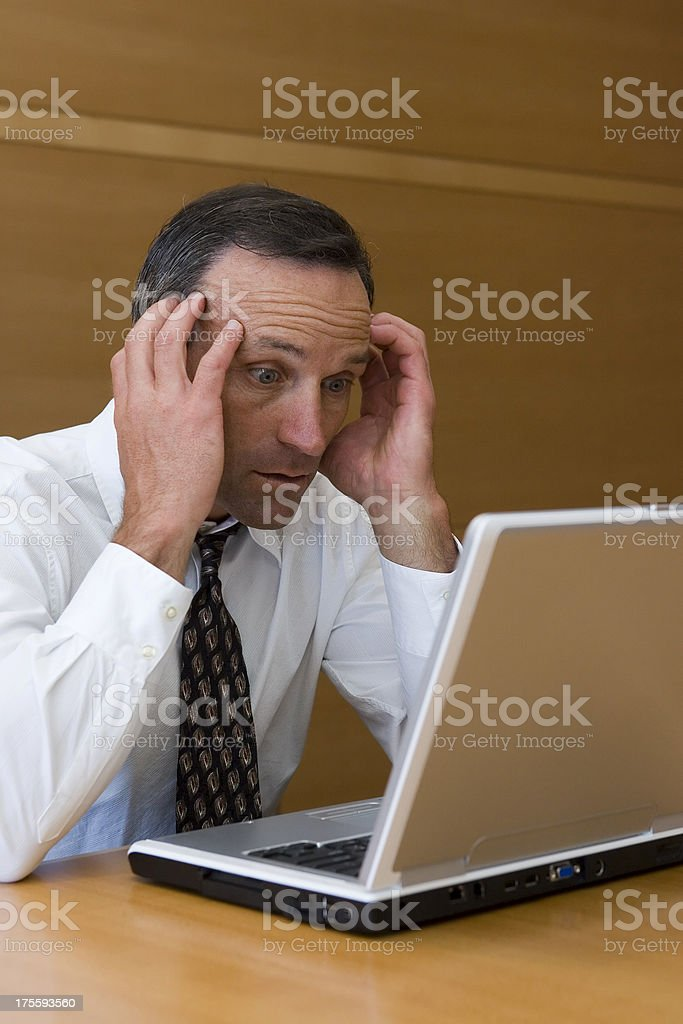 Businessman with Laptop-Bad News royalty-free stock photo