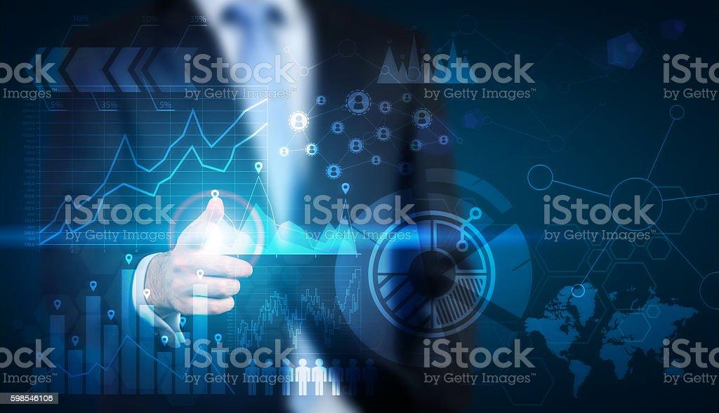 Businessman with large screen photo libre de droits