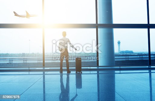 509630674 istock photo Businessman with luggage waiting in the airport 529667678