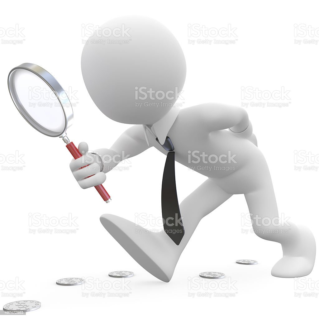 Businessman with magnifying glass looking for coins stock photo