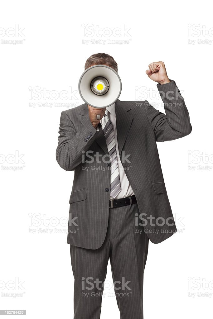 Businessman With Megaphone. Isolated royalty-free stock photo