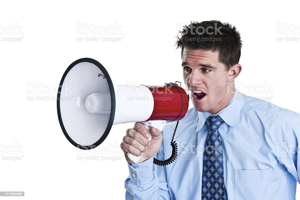 Businessman with megaphone royalty-free stock photo