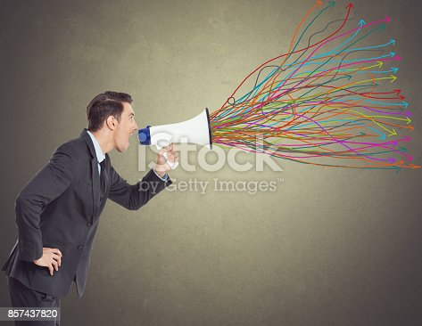 istock Businessman with megaphone 857437820
