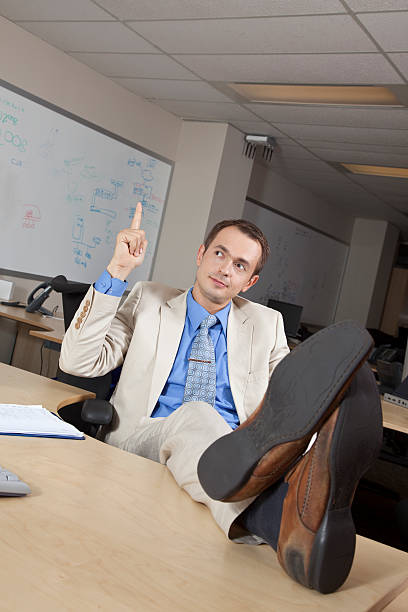 Businessman with new idea stock photo