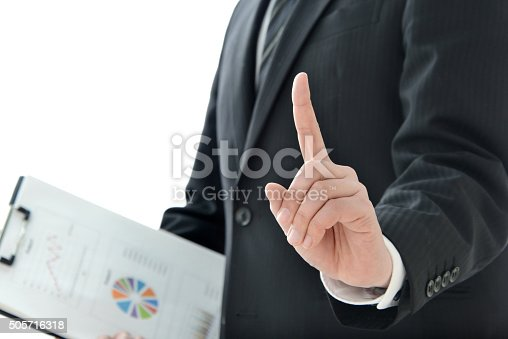 istock Businessman with number one sign 505716318