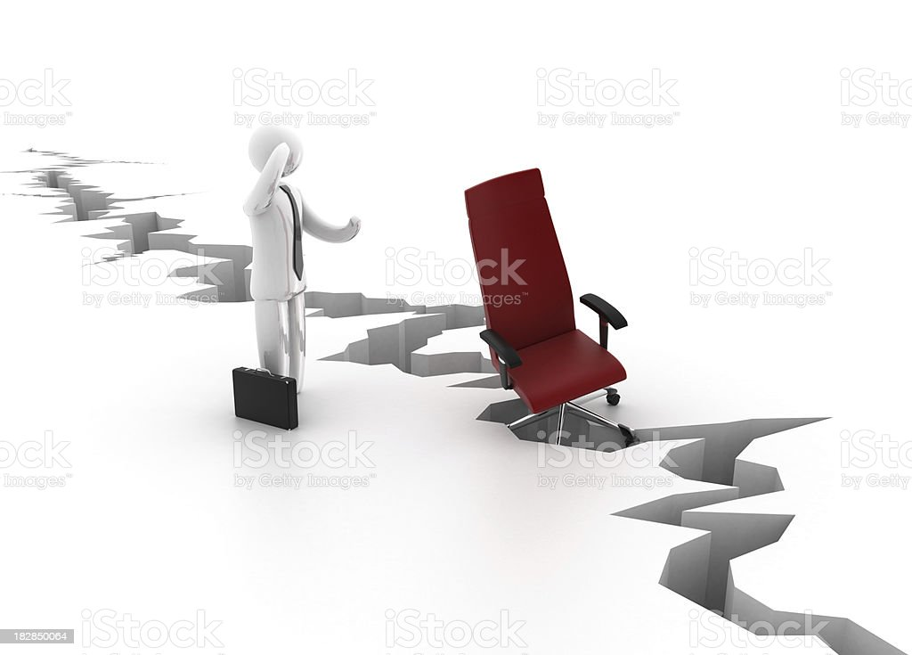 Businessman with office chair in trouble stock photo