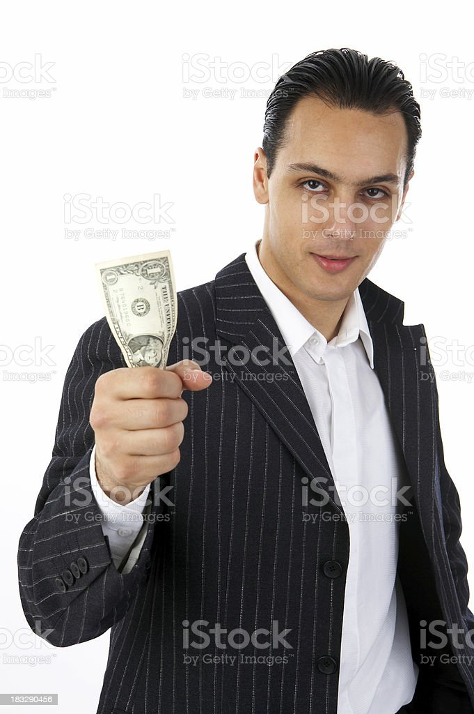 Businessman with one dollar royalty-free stock photo