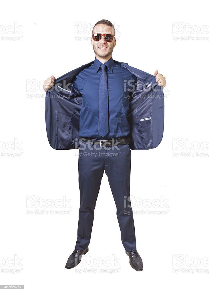 businessman with opened jacket stock photo